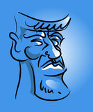 Face of a man. The picture of face of a man with blue background vector illustration