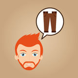 Face man bearded clothes brown pants hipster Royalty Free Stock Photos