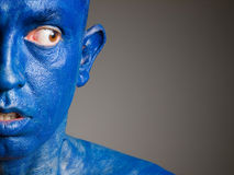 Face man blue , fear expression. Royalty Free Stock Photos