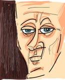 Face of man cartoon sketch illustration Stock Images