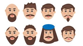 The face of a man with different hairstyles, a beard and a mustache. royalty free illustration