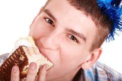 Face of man eating cake. Royalty Free Stock Photos