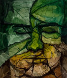 Face of man from leaves with closed eyes Royalty Free Stock Photography