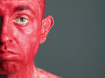 Face man makeup red 2 Royalty Free Stock Photography
