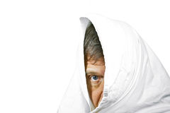 Face of man partially covered Stock Photography