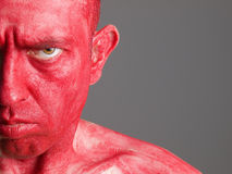 Face man red and seriously expression Stock Images