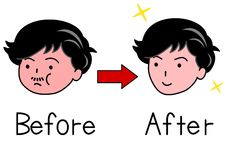 Face of man before and after Shape up Stock Image