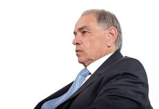 Face of a man in suit in profile stock photos