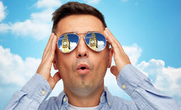 Face of man in sunglasses looking at big ben tower Royalty Free Stock Photography