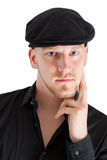 Face of a man wearing black cap Stock Image