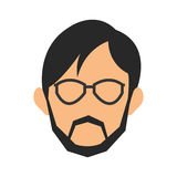 Face of man wearing glasses and beard icon Stock Photography