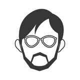 Face of man wearing glasses and beard icon Stock Photos