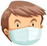 A Face of Man Wearing a Mask royalty free illustration