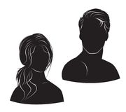 Face man and woman on white background Royalty Free Stock Photo