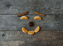 Face with mandarin, anise and cinnamon on wooden background Stock Photography