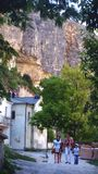 Cave monastery in Crimea. Look at the wall of mountain!!!! royalty free stock images