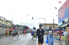 FACE OF A MARKET IN IVORY COAST AFTER THE PASSAGE OF A SWING RAIN Royalty Free Stock Images