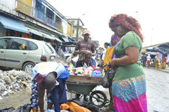 FACE OF A MARKET IN IVORY COAST AFTER THE PASSAGE OF A SWING RAIN Royalty Free Stock Photos