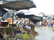 FACE OF A MARKET IN IVORY COAST AFTER THE PASSAGE OF A SWING RAIN Stock Photo