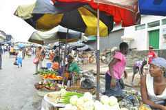 FACE OF A MARKET IN IVORY COAST AFTER THE PASSAGE OF A SWING RAIN Royalty Free Stock Photography