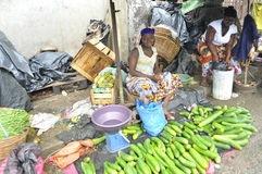 FACE OF A MARKET IN IVORY COAST AFTER THE PASSAGE OF A SWING RAIN Royalty Free Stock Photo