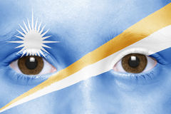 Face with marshall islands flag Royalty Free Stock Image