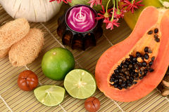 Face mask for acne treatment with Papaya and lime. Stock Photos