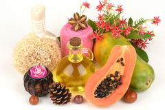 Face mask for acne treatment with Papaya and olive oil. Stock Photo