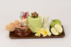Face mask with apples and honey. Stock Images