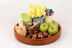 Face mask with apples and honey for whitening skin. Spa from natural raw materials Stock Photo