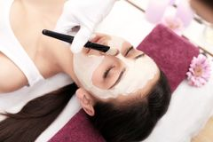 Face Treatment. Woman in Beauty Salon Gets Marine Mask Stock Images