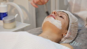 Face mask being applied during spa treatment stock video footage