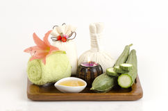Face mask and body wrap honey and Angled Loofah, Angled gourd Stock Photo