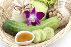 Face mask Cucumbers and honey Royalty Free Stock Photos