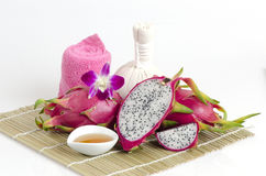 Face mask with Dragon fruit and honey. Royalty Free Stock Image