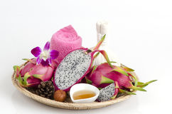 Face mask with Dragon fruit and honey. Stock Photo