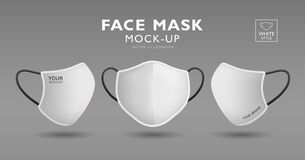 Face Mask Fabric White Color Mock Up Front And Side, Realistic Template Design, Isolated Stock Photos