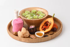 Face mask and jackfruit Spiny Bitter Gourd, Sweet Gourd, and Cochinchin Gourd and honey. Stock Image