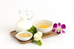 Face mask with jasmine flowers, Eggs, honey and milk. royalty free stock images