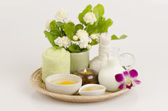 Face mask with jasmine flowers, Eggs, honey and milk. Royalty Free Stock Photo