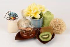 Face mask with Kiwi fruit and honey. Royalty Free Stock Images