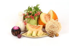 Face mask for with Muskmelon. Royalty Free Stock Image