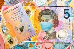 Free Face Mask On Australian 5 Dollars Banknote Stock Photos - 177317263