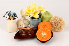 Face mask with orange and honey to smooth whitening facial skin and acne. Spa with natural ingredients Stock Images