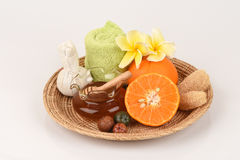 Face mask with orange and honey. Royalty Free Stock Photos