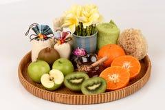 Face mask with orange, kiwi, apples and honey. Royalty Free Stock Photo