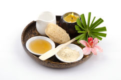 Face mask recipe with Tanaka, honey, water. Facial spa. Royalty Free Stock Photos