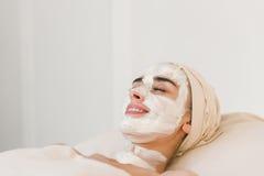 Face mask, spa beauty treatment. Royalty Free Stock Image