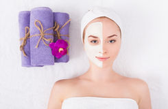 Face mask, spa beauty treatment, skincare Stock Images