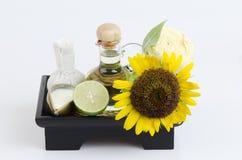 Face mask with sunflower oil, lemon and yogurt Stock Image